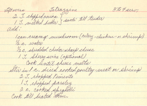 Handwritten Recipe For Leftovers Tetrazzine