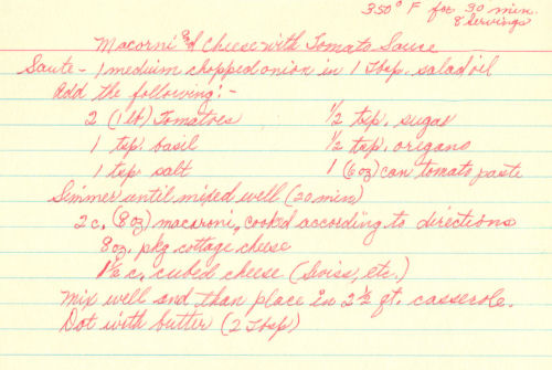 Handwritten Recipe For macaroni & Cheese With Tomato Sauce