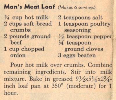 Man's Meatloaf Recipe Clipping