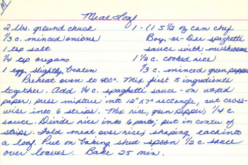 Handwritten Meatloaf Recipe