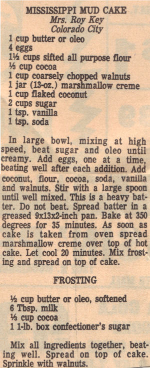 Recipe Clipping For Mississippi Mud Cake