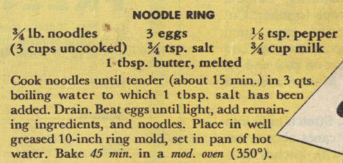 Vintage Noodle Ring Recipe Clipping