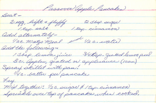 Handwritten Recipe For Apple Pancakes