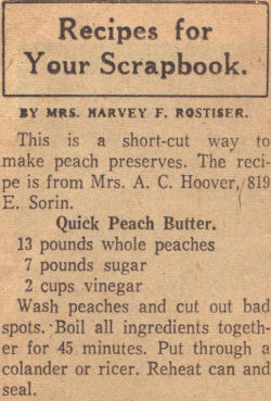 Recipe Clipping For Quick Peach Butter