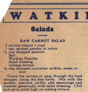 Vintage Recipe For Raw Carrot Salad