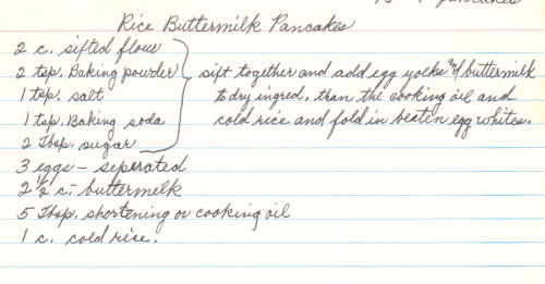 Handwritten Recipe For Rice Buttermilk Pancakes