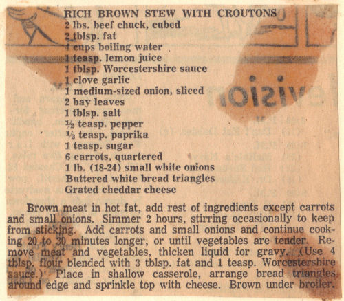 Vintage Recipe Clipping For Rich Brown Stew