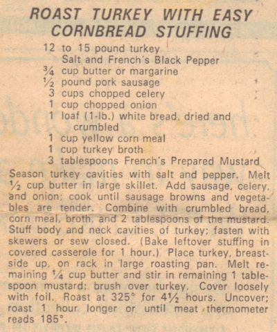 Recipe Clipping For Roast Turkey And Easy Cornbread Stuffing