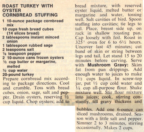 Recipe Clipping For Roast Turkey And Oyster Cornbread Stuffing