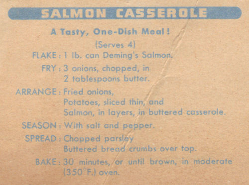 Salmon Casserole Recipe Clipping