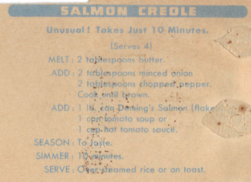 Vintage Recipe Clipping For Salmon Creole