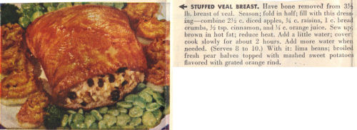 Vintage Clipping For Stuffed Veal Breast