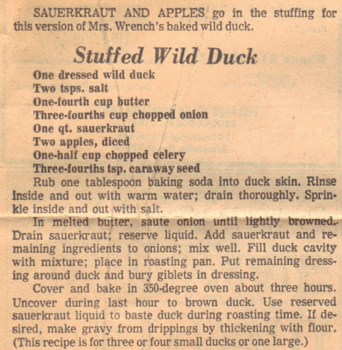 Vintage Recipe For Wild Duck - Stuffed