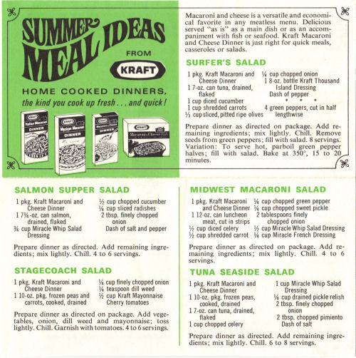 Summer Meal Ideas Recipe Sheet From Kraft Dinner