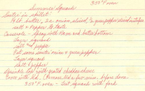 Handwritten Recipe For Summer Squash