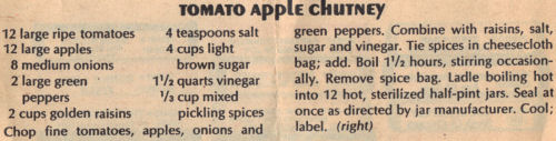 Recipe Clipping For Tomato Apple Chutney