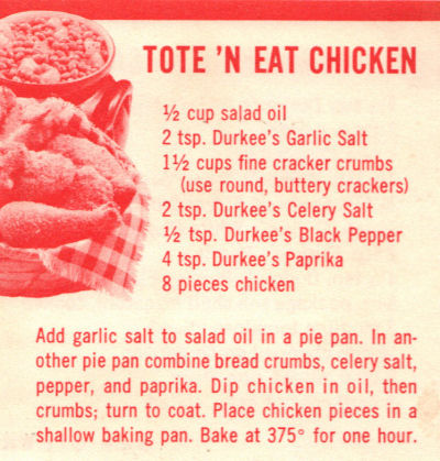 Recipe Clipping For Tote 'N Eat Chicken