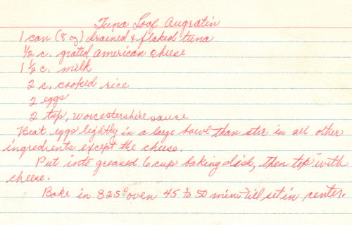 Handwritten Recipe For Tuna Casserole
