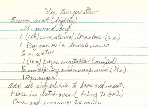 Handwritten Recipe For Vegetable Burger Stew