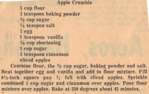 Vintage Recipe Clipping For Apple Crumble
