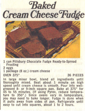 Recipe Clipping For Baked Cream Cheese Fudge