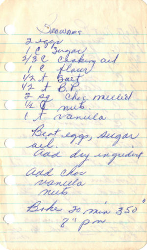 Handwritten Recipe For Brownies