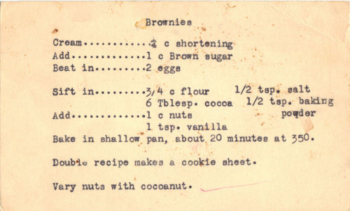 Typed Recipe Card For Brownies