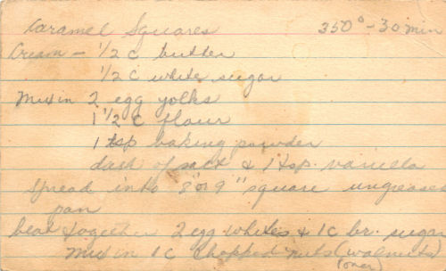 Handwritten Recipe Card For Caramel Squares