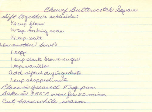 Handwritten Recipe Card For Chewy Butterscotch Squares