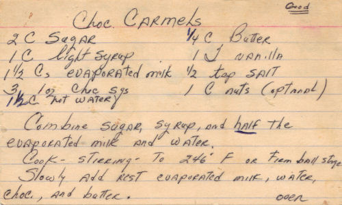 Handwritten Recipe Card For Chocolate Caramels