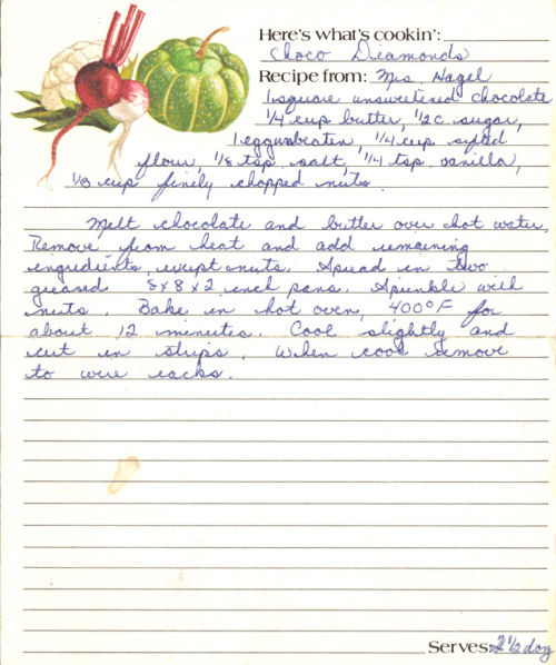 Handwritten Recipe Card for Choco Diamonds
