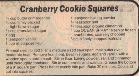 Recipe Clipping for Cranberry Cookie Squares