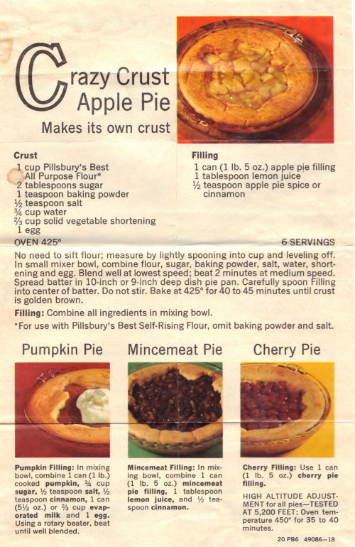 Recipe Sheet For Crazy Crust Apple Pie