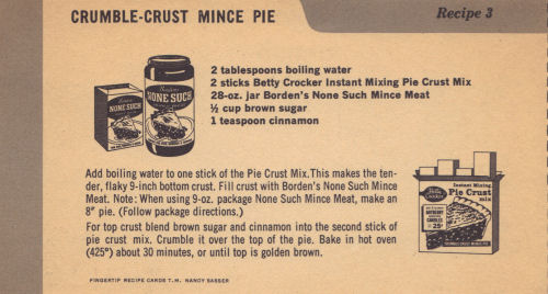Vintage Recipe Card For Crumble Crust Mince Pie