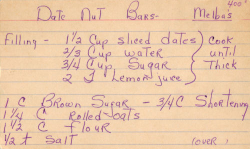 Recipe Card For Date Nut Bars