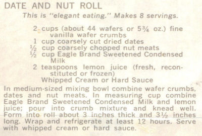 Recipe Clipping For Date & Nut Rolls