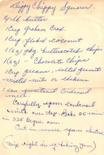 Handwritten Recipe For Dippy Chippy Squares