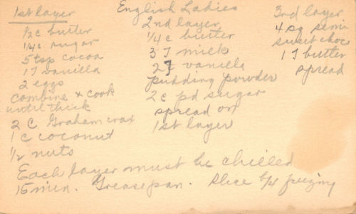 Handwritten Recipe For English Ladies