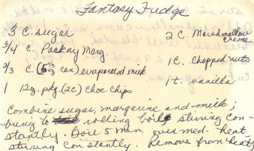 Handwritten Recipe For Fantasy Fudge