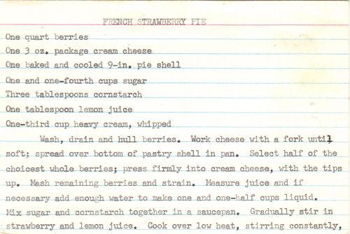 RecipeCurio.comFrench Strawberry Pie – Handwritten | RecipeCurio.com