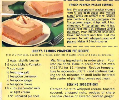 Vintage Recipe Frozen Pumpkin Parfait Squares