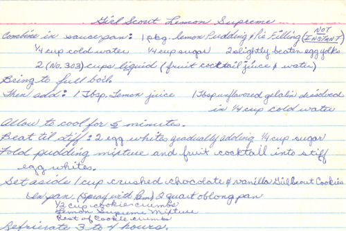 Recipe Card For Girl Scout Lemon Supreme
