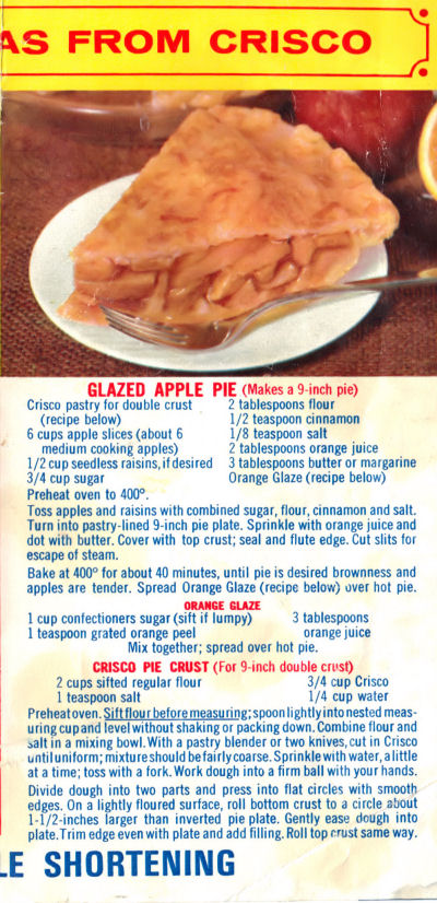 Recipe Clipping For Glazed Apple Pie