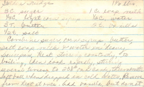 Handwritten Recipe For Golden Fudge