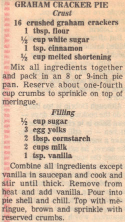 Recipe Clipping For Graham Cracker Cream Pie