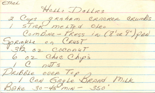 Handwritten Recipe For Hello Dollies