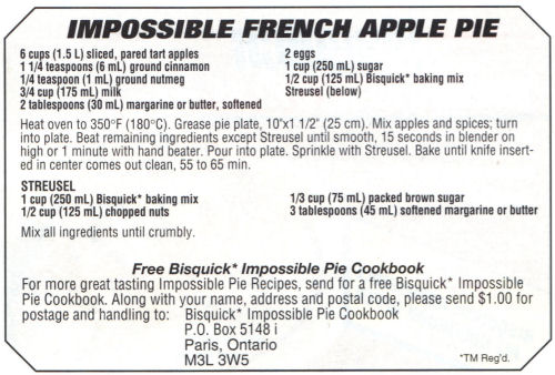 Recipe Slip For Impossible French Apple Pie