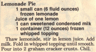 Recipe Clipping For Lemonade Pie