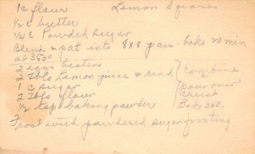 Handwritten Recipe Card For Lemon Squares