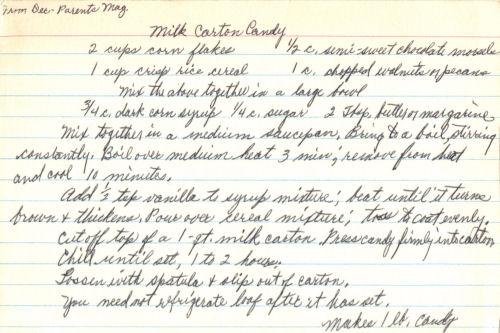 Handwritten Recipe For Milk Carton Candy